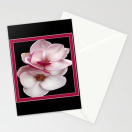 tulip magnolia twins (black bg square) Stationery Cards