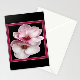tulip magnolia twins (black bg square) Stationery Cards