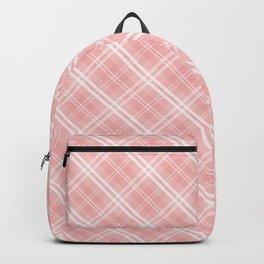 Blush Pink Valentine Sweetheart Tartan Plaid Check Backpack