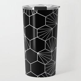 Hexagonal hive black white pattern Travel Mug