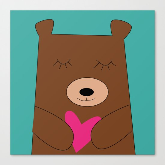 Bear in love Teal Canvas Print