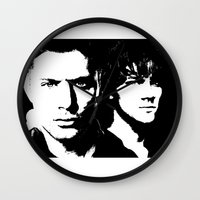 sam winchester Wall Clocks featuring Winchester by Panda Cool