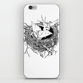 birds made of paper in a nest iPhone Skin