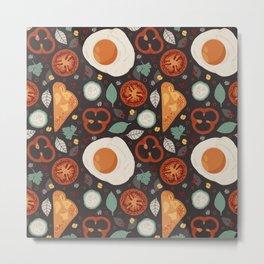 Eggs And Toast Breakfast Pattern Metal Print