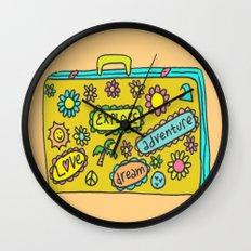 Let's Travel Retro Suitecase Wall Clock