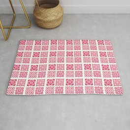 Pink Geometric Heritage Traditional Moroccan Tiles Zellige Style Artwork Rug