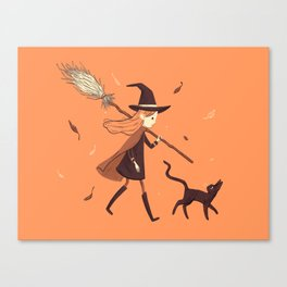 Little Witch Girl Canvas Print
