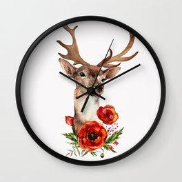 Deer with flowers 2 Wall Clock