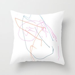 Pink, orange and blue lines Throw Pillow