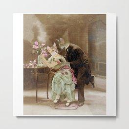 """Chats amoureux 1900, interrogeons les fleurs"" / ""Cats in love 1900, question the flowers"" Metal Print"