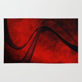 Rouge Crosshatched Wave Rug