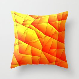 Bright pattern of red and yellow triangles and irregularly shaped lines. Throw Pillow