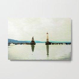 Lindau in watercolor Metal Print