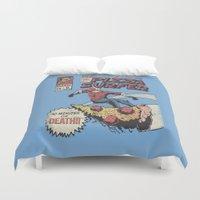 surfer Duvet Covers featuring Pizza Surfer by Austin Pardun