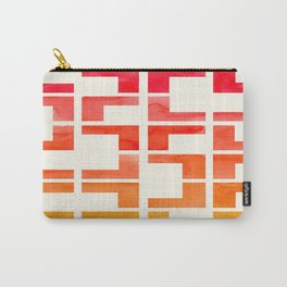 Red Orange Yellow Geometric Mid Century Modern Pattern L Shaped Grid Carry-All Pouch