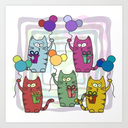Funny colorful cats with gifts and inflatable balls in their paws Art Print