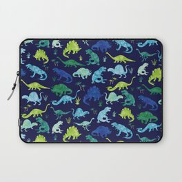 Watercolor Dinosaur Blue Green Dino Pattern Laptop Sleeve