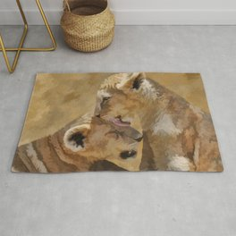 Loving nature of a lion cub Rug