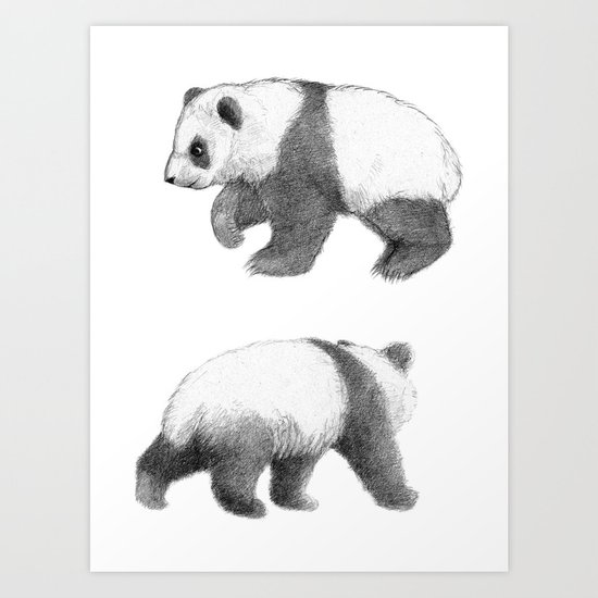 Walking Panda sketchSK062 Art Print