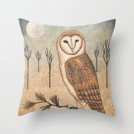 Barn Owl by Donna Atkins Throw Pillow