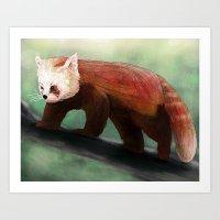 red panda Art Prints featuring Red Panda by Ben Geiger