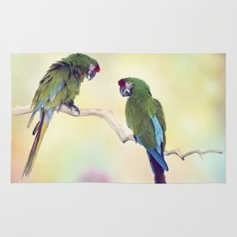 Colorful Macaw Parrots Perching On A Branch.Digital art Rug