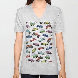 Cute Colorful Toy Car Illustration Pattern Unisex V-Neck
