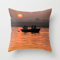 rowing Throw Pillows featuring Rowing Boat on the Ganges at Sunrise by Serenity Photography