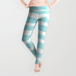 Aqua Blue- White- Stripe - Stripes - Marine - Maritime - Navy - Sea - Beach - Summer - Sailor 2 Leggings