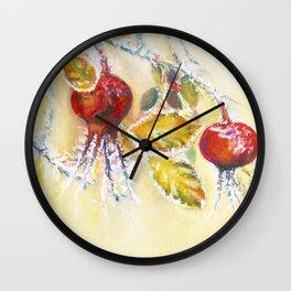 Winter Rosehips Wall Clock