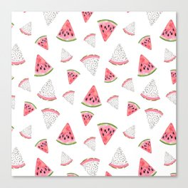 Fruity hand painted watercolor pink red black watermelon Canvas Print