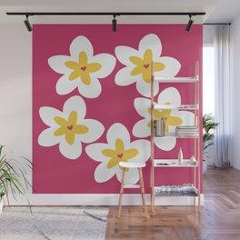 Yellow Plumeria Lei (Pink) Wall Mural