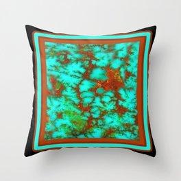 Black-Brown Turquoise December Birthstone Design. Throw Pillow