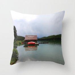 Maligne Lake Boathouse Throw Pillow
