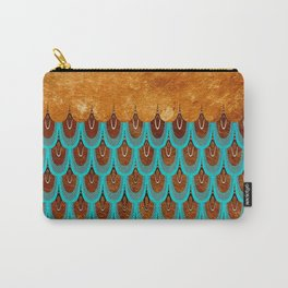 Copper Metal Foil and Aqua Mermaid Scales- Abstract glitter pattern Carry-All Pouch