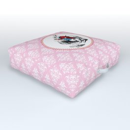 Alice in Wonderland | The White Rabbit Checks the Time | Pink Damask Pattern | Outdoor Floor Cushion