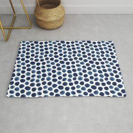 Large Indigo/Blue Watercolor Polka Dot Pattern Rug