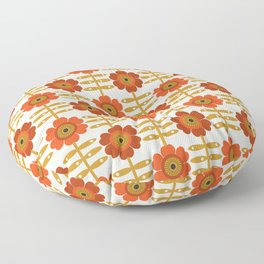 Famoo - floral retro 70s style throwback 1970's flower pattern Floor Pillow