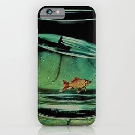 Glass half full;  Goldfish Bowl with man in a boat magical realism iPhone Case