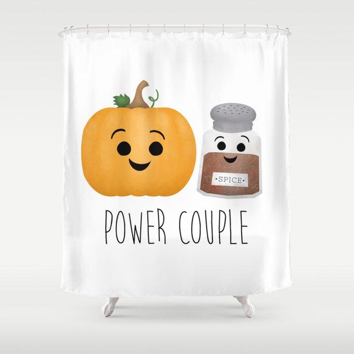Pumpkin + Spice = Power Couple Shower Curtain