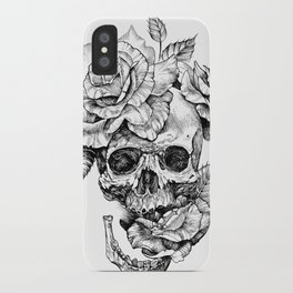 Black and White skull with roses pen drawing iPhone Case