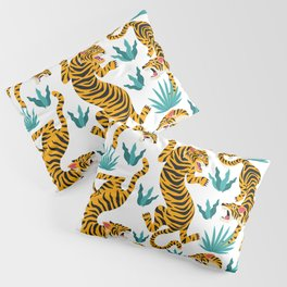 Cute tiger dance in the tropical forest hand drawn illustration Pillow Sham