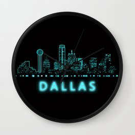 Digital Cityscape: Dallas, Texas Wall Clock