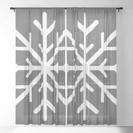 Snowflake (White & Grey) Sheer Curtain