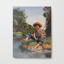 Young Boy Fishing, Catching A Fish, Rural Country life Landscape Metal Print