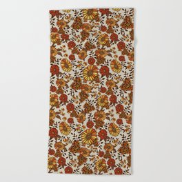 Retro 70s boho hippie orange flower power Beach Towel