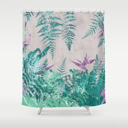 Ferns and Parrot Flowers Shower Curtain