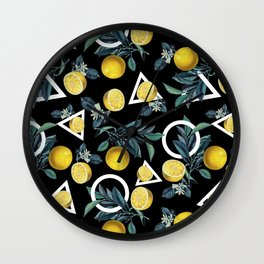 Geometric and Lemon pattern II Wall Clock