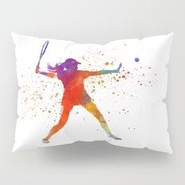 Woman tennis player 01 in watercolor Pillow Sham
