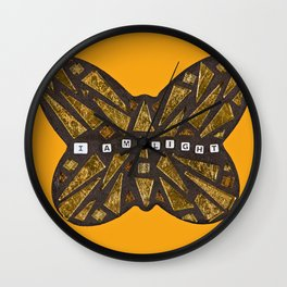 I Am Light Mosaic Butterfly Wall Clock